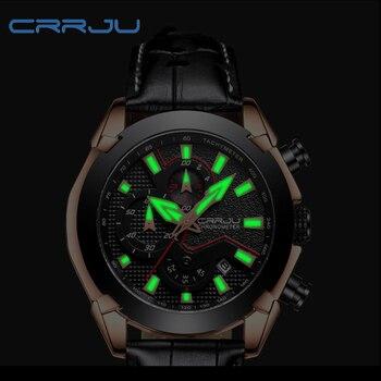 Crrju мужские спортивные часы Топ бренд Роскошные хронограф часы мужские водонепроницаемые светящиеся военные мужские часы модные кожаные ч...