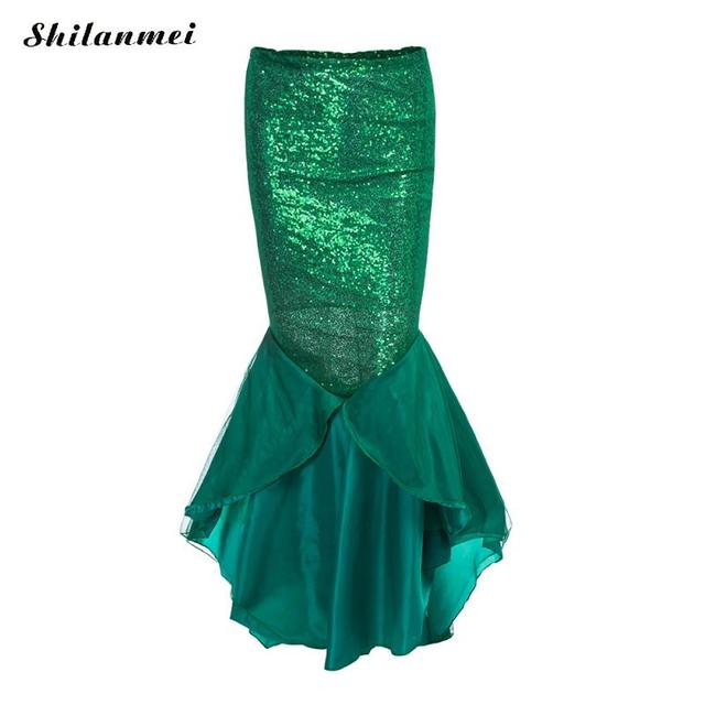7b3ee77b9e 2018 Sexy Mermaid Womens Costume Halloween Christmas Party Chic Sequins  Skirt Green Female Long Tail Cocktail Evening Maxi Skirt