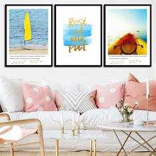 Modern Home Decor For Living Room Wall Art Mural Canvas Painting Blue Seaside Yellow Sailboat Poster&Print Modular Wall Picture(China)