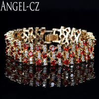 ANGELCZ Lüks Kırmızı Kübik Zirkonya Taş Hint Tarzı Sarı Altın Rengi Geniş Bilezik Kadınlar Için bilezik Düğün Mücevher AB053