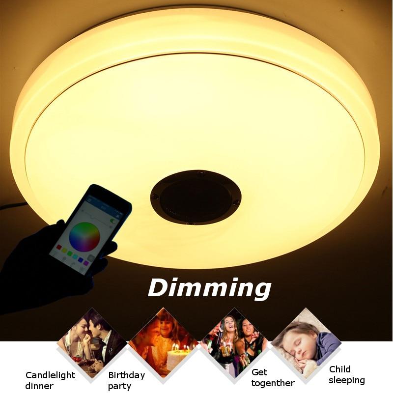 Smuxi RGB 48 W Светодиодный bluetooth динамик заподлицо потолочный светильник АС Plug Светодиодный потолочный светильник купить на AliExpress