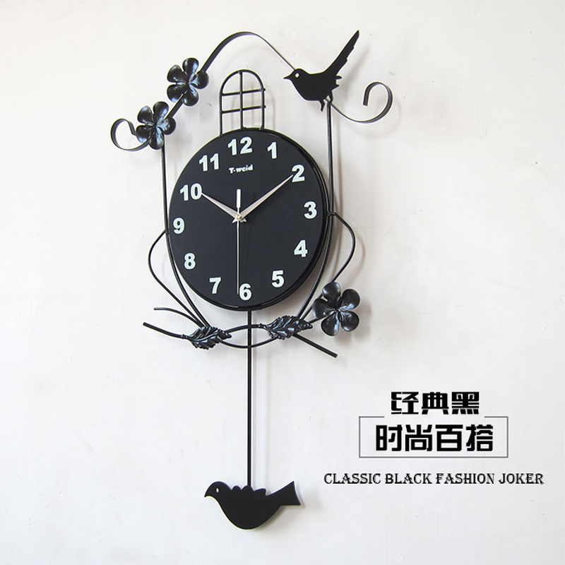 Wall Clock Decorating Ideas Black Metal Lamp Brown Wooden Table Top Plant Vase