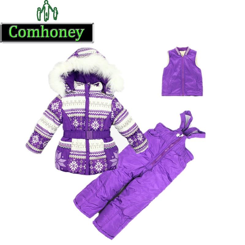 88929f9067 3 in 1 bambini economici tute da sci per bambini snowsuit neve stampa caldo  ispessisce set di abbigliamento invernale vestito per la ragazza vestito di  ...