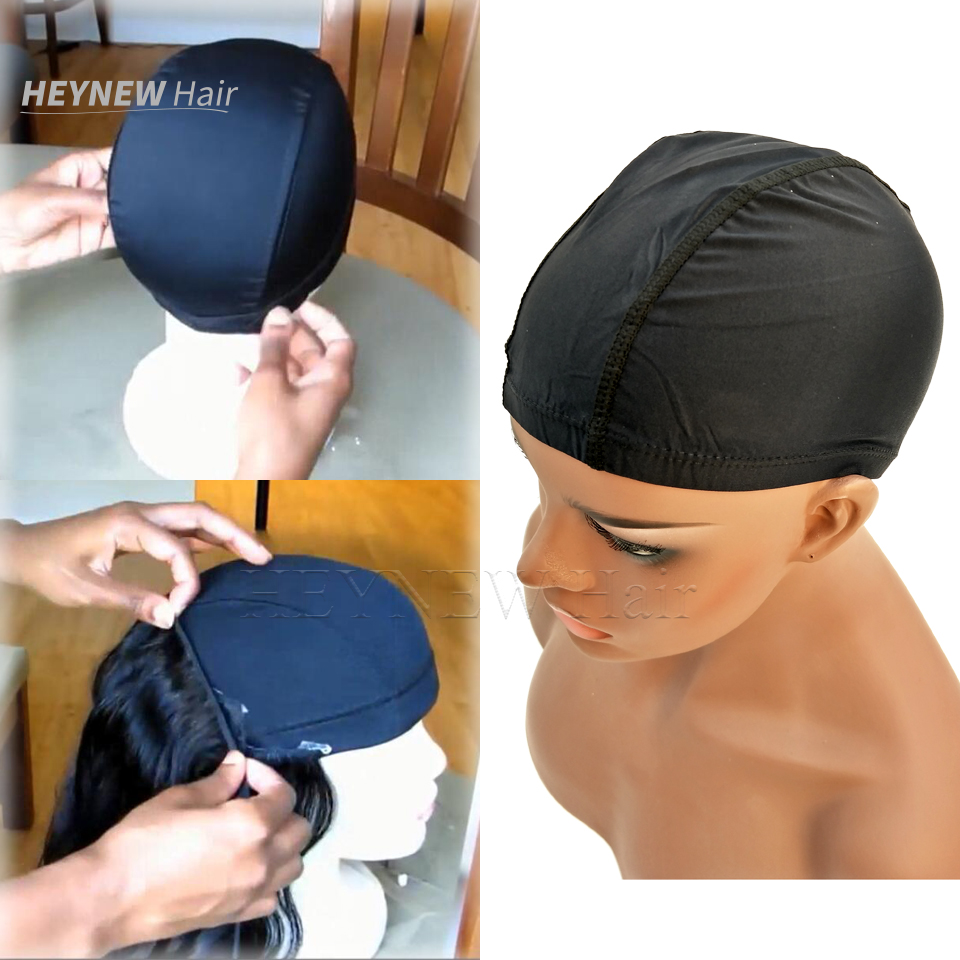 9d0699bf91b Stocking spandex dome cap for making wigs adjustable stretch hairnets nylon  weaving caps black color wigs