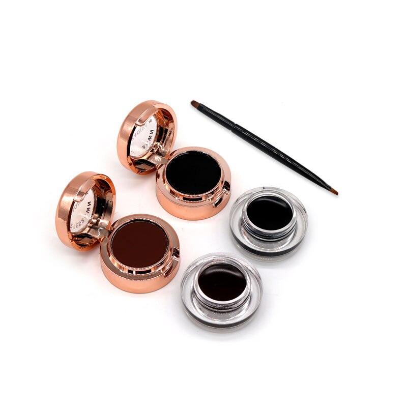 KAQIYA 2 In 1 Long Lasting Waterproof Black Brown 3D Eyebrow Powder Palette Eye Brow Enhancer + Eyeliner Gel Cream Set