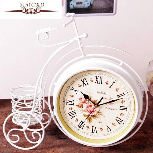 Retro Clock Metal Bicycle Clock Double sided Quiet Vintage Table Clock Quartz Clocks Garden Home Decor 36*34*10cm