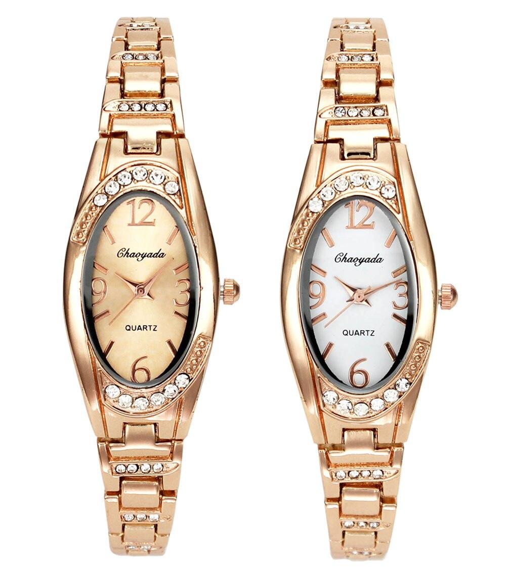 Kvinnor Rose Gold Luxury Rhinestone Oval Armband Klockor Kvinnliga Dam Trendiga Charm Crystal Dekoration Kedja Halsband Armbandsur