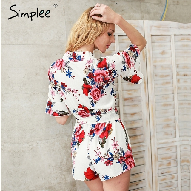 Simplee Summer beach floral print sexy jumpsuit romper Sexy v neck half butterfly sleeve overalls Streetwear playsuit leotard