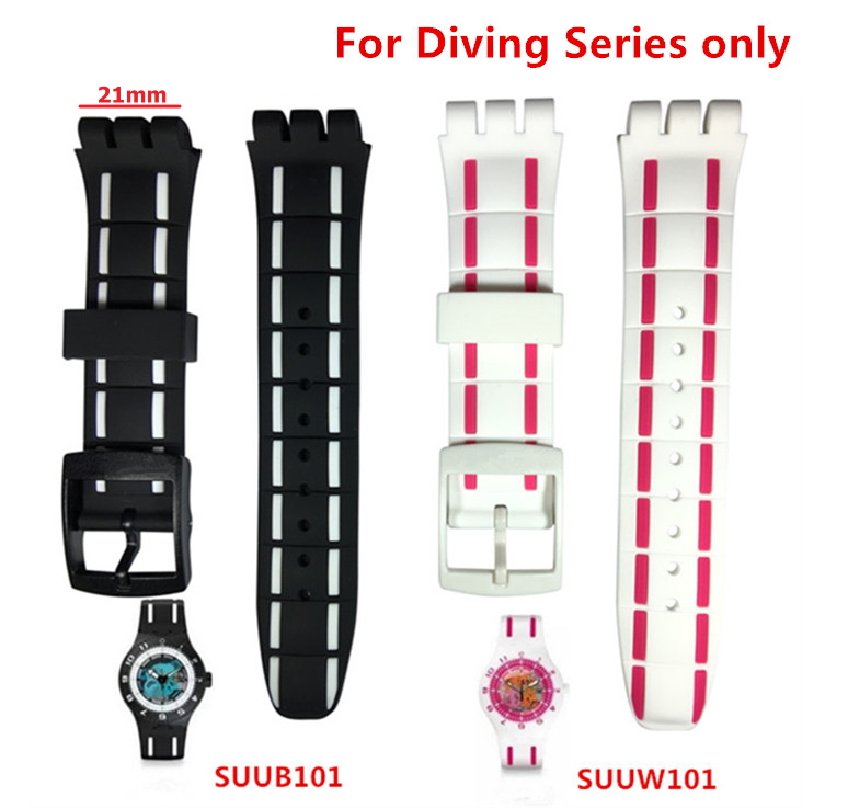 Original Quality Watchband Watch Accessories Strap Band For Swatch Silicone Resin For Diving Series SUUB101 SUUW101 Logo On 21mm