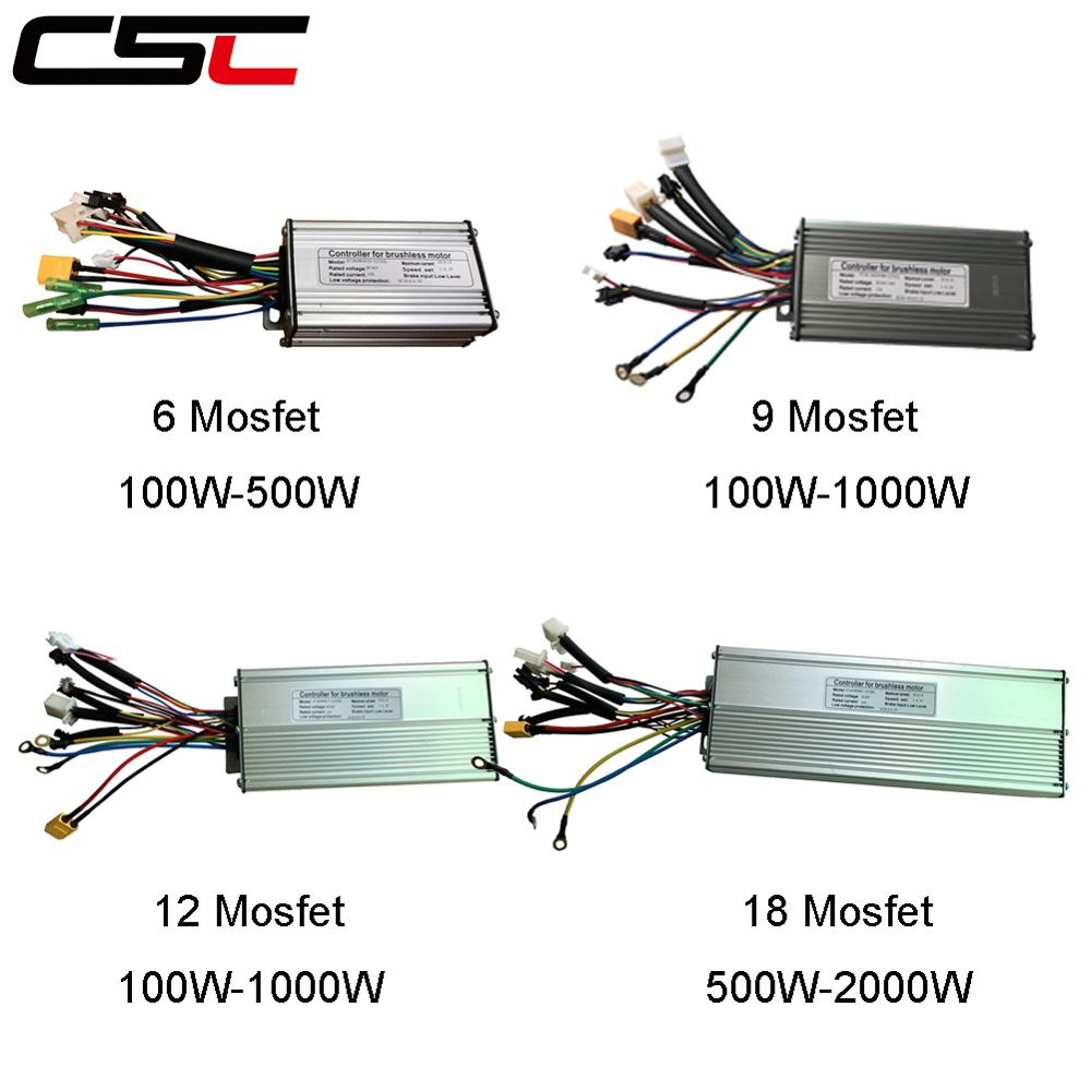 Alomejor EBike Brushless Controller 6 Tube 36//48V KT‑17A Motor Rectangula Controller Waterproof Contact with Light Cable