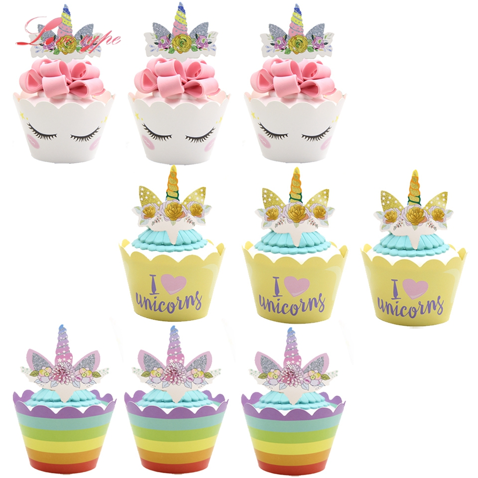 DIY Unicorn Cupcake Topper Cases Wrapper Cake Decoration Party Supplies Cupcake