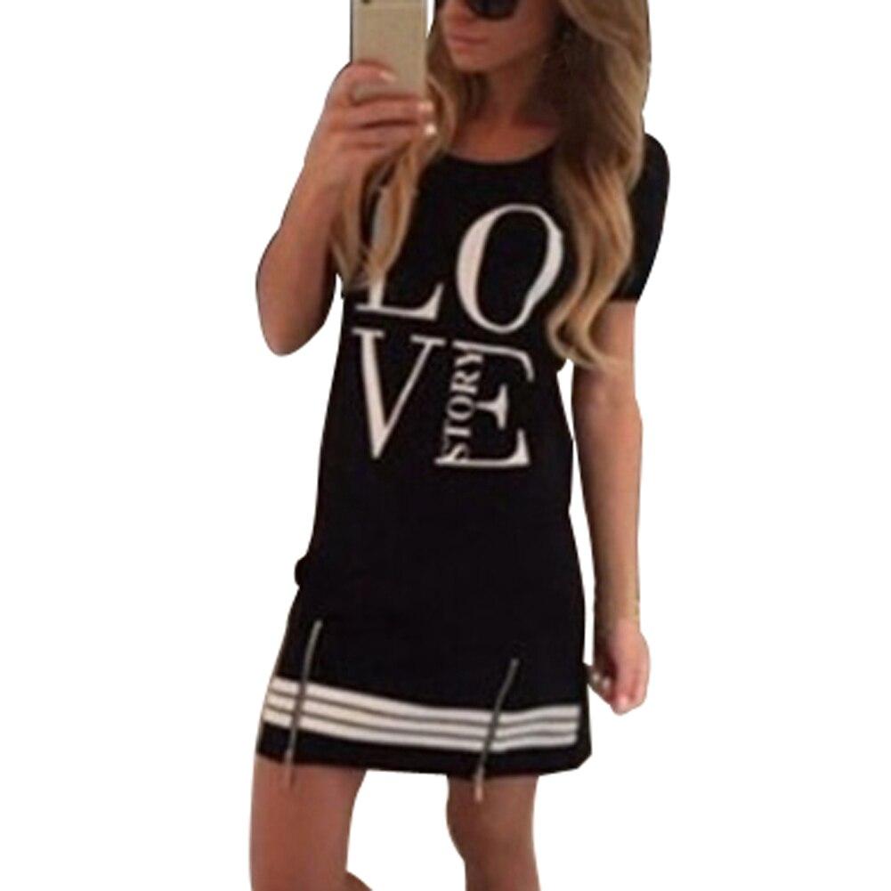 TFGS  Design Summer Style Casual Fashion Women Letter Print Neck Short Sleeve Zipper Long above knee dress Tops Blouse