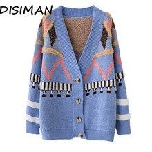 дешево!  DISIMAN женский свитер кардиган Трикотажное корейской зимней одежды Свободные женские топы Толстые