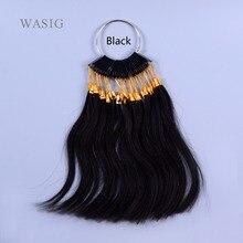 30 шт./компл. человеческих натуральная цвет волос кольцо для человеческих волос и салон, окрашивание волос образец, можно покрасить в любой цвет(черный