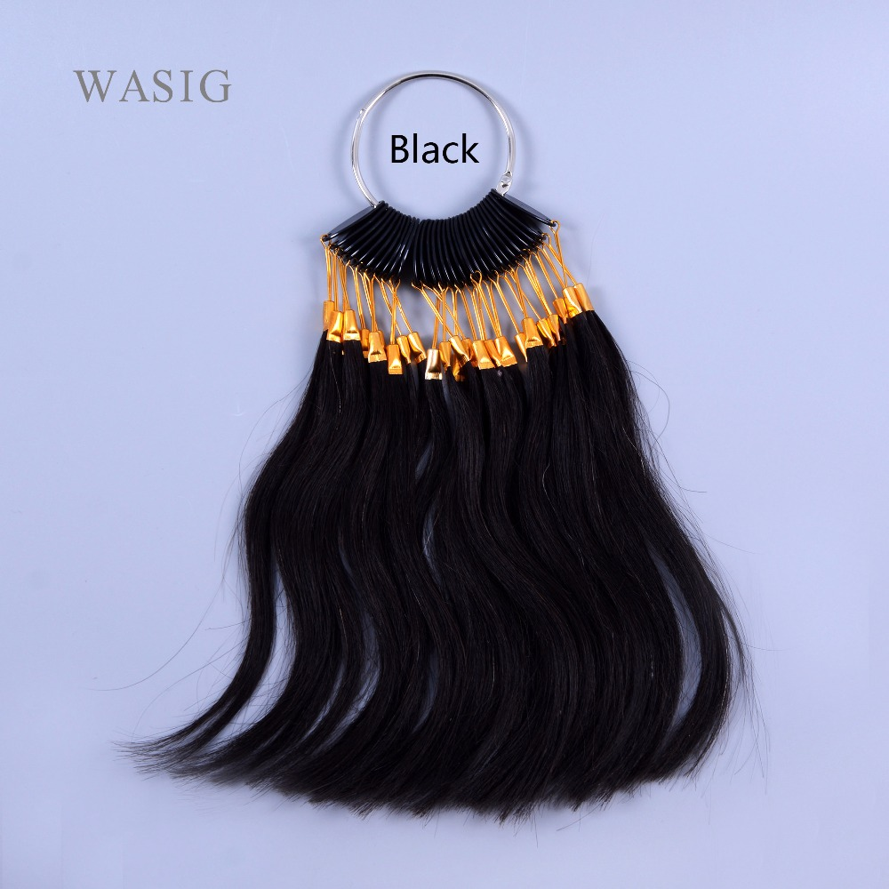 30pcs/set 100% Human Virgin Hair Color Ring  For Human Hair Extensions And Salon Hair Dyeing Sample, Can Be Dye Any Color(Black)