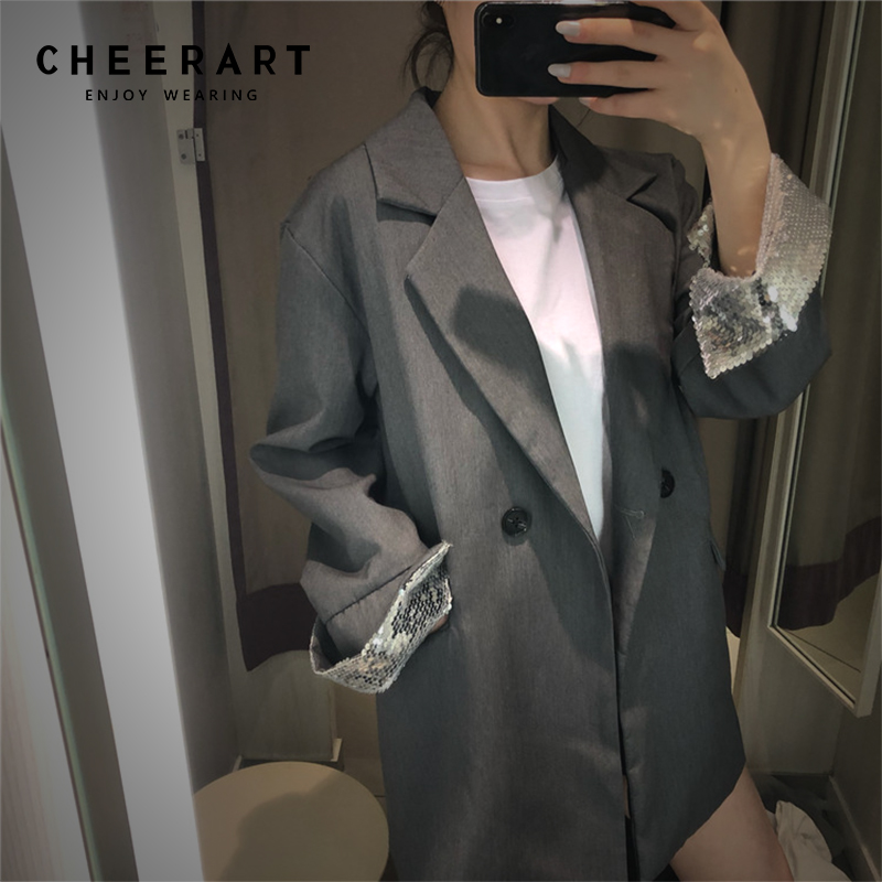 Cheerart Sequin Casual Blazer Women Lapel Coat Gre