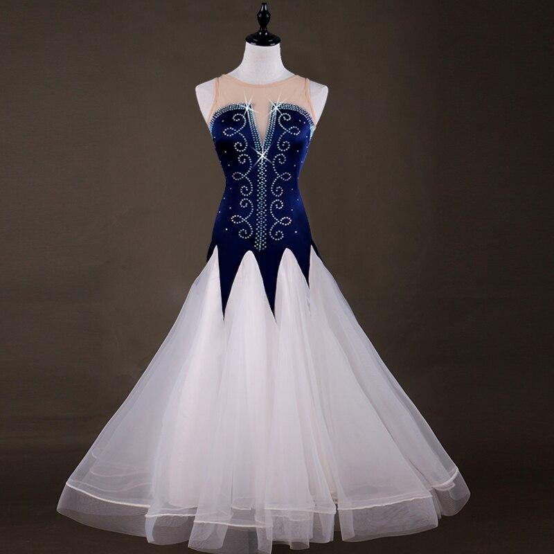 Shiny Diamond Dark Blue White Ballroom Dance Dress Women Professional Waltz Foxtrot Dresses Competition Dancing Wear