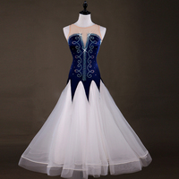 Shiny Diamond Dark Blue&White Ballroom Dance Dress Women Professional Waltz Foxtrot Dresses Competition Dancing Wear S XXL