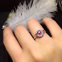 Fine Jewelry Pure 18 K White Gold Real 100% Natural Red Ruby 0.6ct Diamonds Jewelry Female's Rings for Women Fine Ring