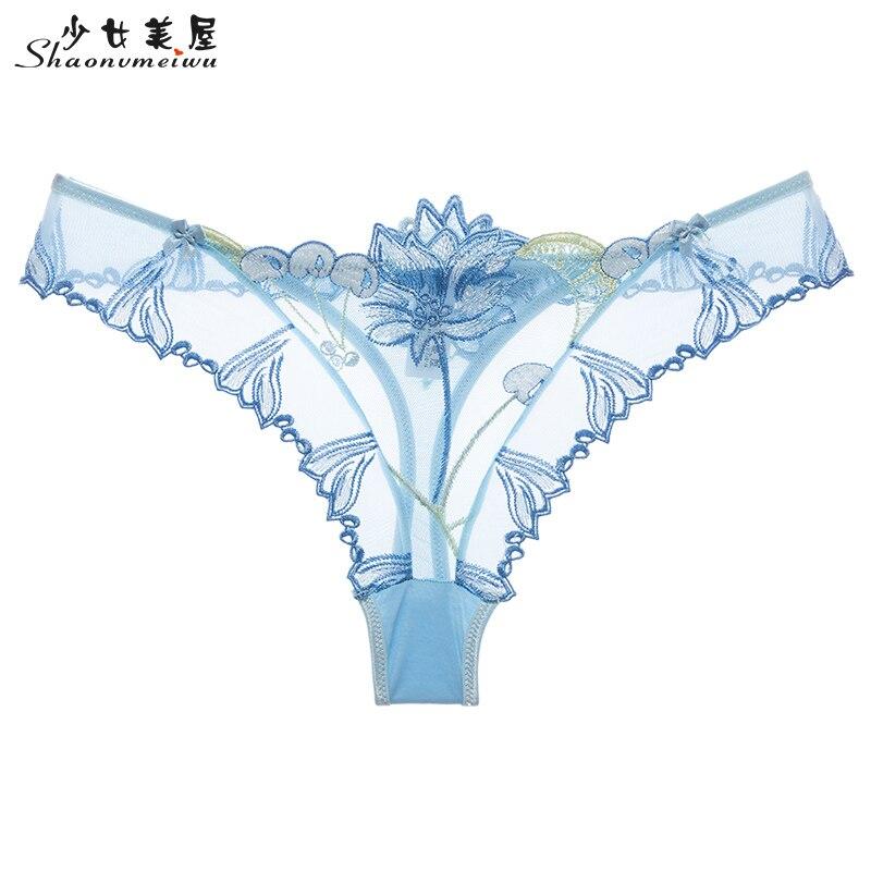 shaonvmeiwu Net gauze transparent embroidery sexy women 39 s underwear tempura women low waisted g string women in women 39 s panties from Underwear amp Sleepwears