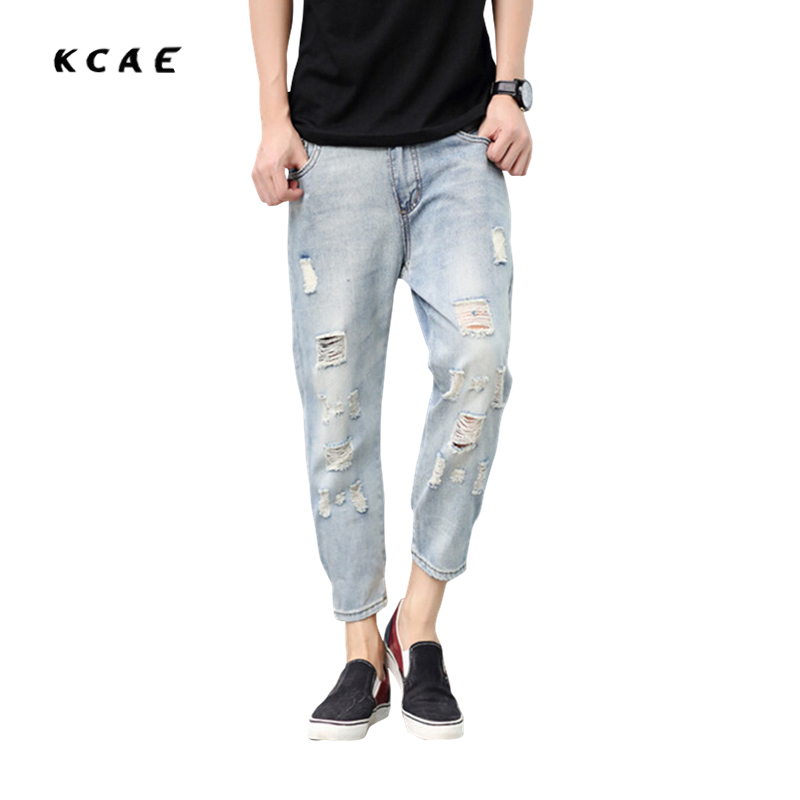 Summer men's feet pantyhose male attire port beam pants men harem pants thin section Hole nine points casual jeans tide