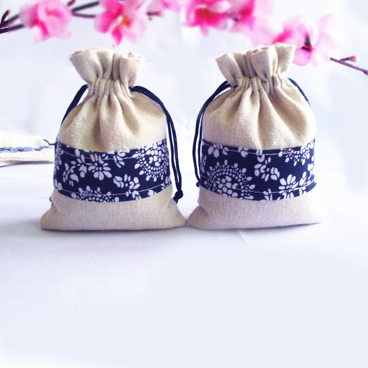 40Pcs Chinese style Wedding Gift Bag Flax Drawstring Pouch party Favor Holders Bags Pouches DIY Packing Wholesale 9 5 13 5cm in Jewelry Packaging Display from Jewelry Accessories