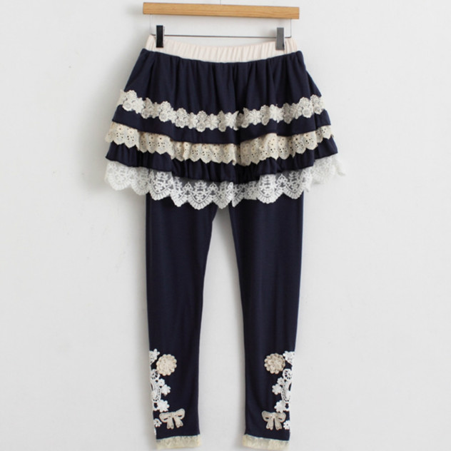 1cebb6f73ea60 Japanese Cute Lolita Harajuku Boho Knitted Cotton Lace Up Leggings Pencil  Skinny Skirt Pants Pantalon Cuir Femme Women Trousers