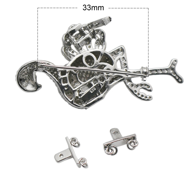 Beadsnice 925 Sterling Argent Animaux Conclusions CZ Pave Fermoir Broche Multi Strand Collier Faisant Accessoires ID 35291 - 5