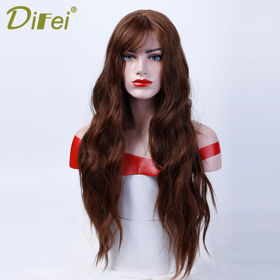 DIFEI Five colors long Wave Wig Lady Cosplay Wig High Temperature Synthesis Halloween Wig ...