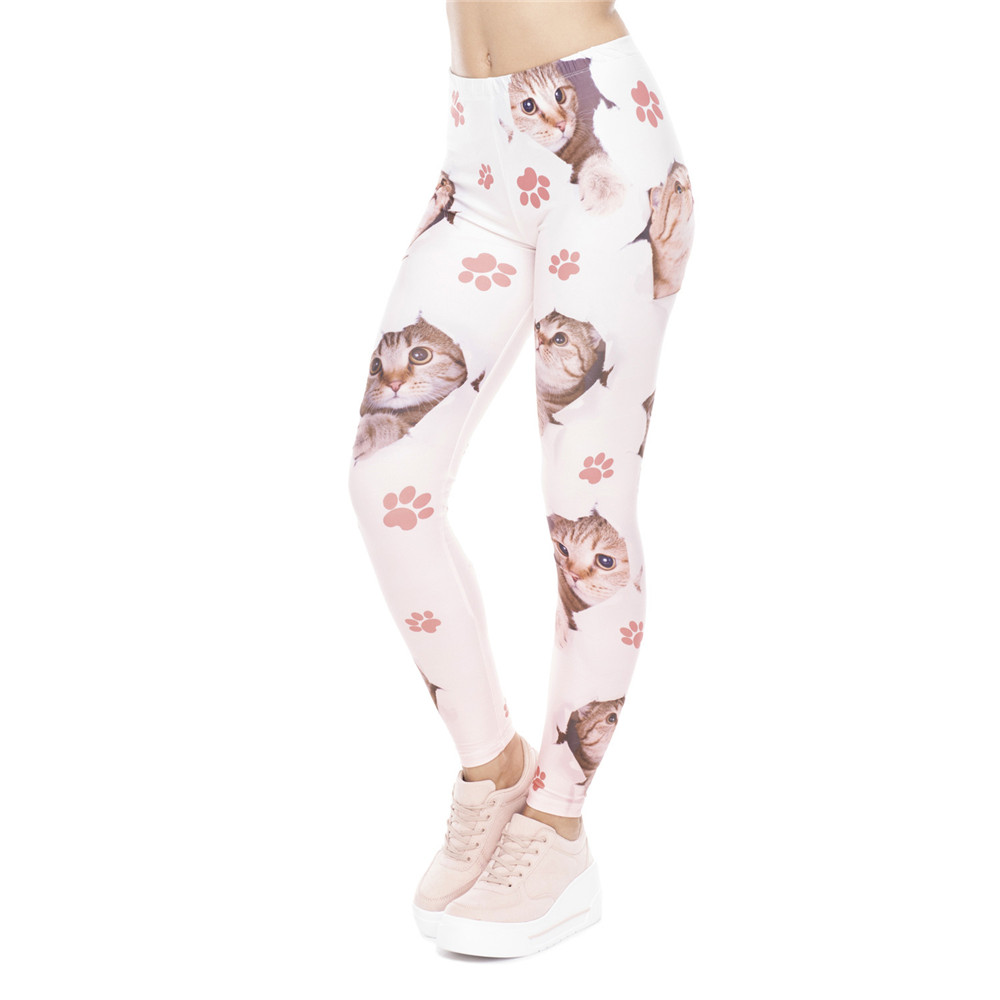 Fccexio Women Home New Leggings High Waist Fitness Legging Hole Cats Printed Leggins Female Pants Workout Leggings Slim Trousers