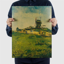 Van Gogh Oil painting 1098/montmartre  windmill/kraft paper/Wall stickers/bar poster/Retro Poster/decorative painting 47*36cm