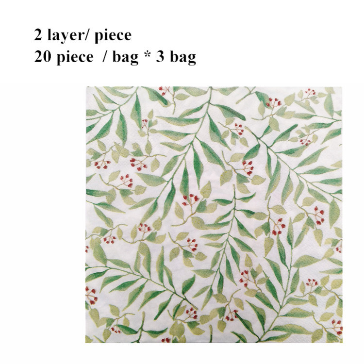Summer Party Paper Napkin Green Leaf Printing Disposable Square Napkins Tissue Home Table Decoration Supplies 20pcs/bag*3 Bag