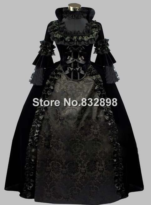 Luxury Gothic Black 19th Century Noble Victorian Era Dress Ball Gown