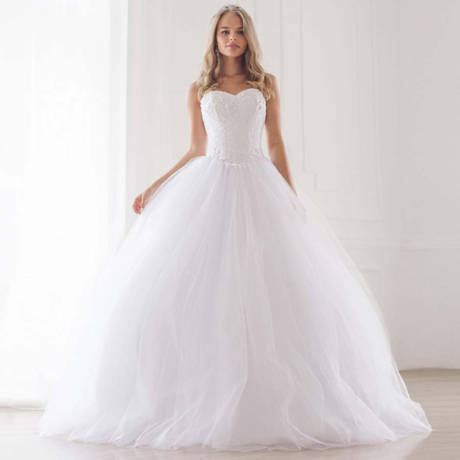 ADLN Cheap Sweetheart Sleeveless Applique Ball Gown Wedding Dresses Beading Sequin Lace Tulle Bridal Gowns Vestido De Noiva