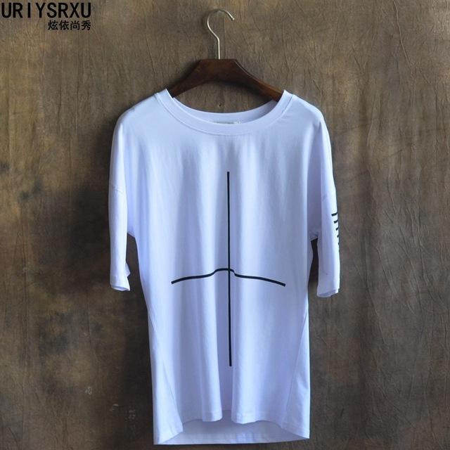 2016 desgaste do verão os novos homens de colarinho redondo tipo solto impressão cruz T-shirt grandes estaleiros de manga curta T-shirt T-shirt de lazer boom