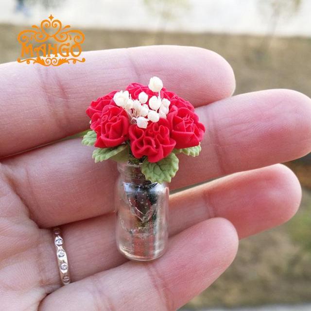 1 12 Dollhouse Miniature Glass Vase Clay Purple Carnations Plants