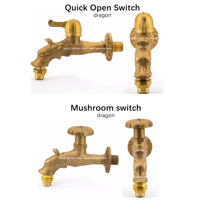 Lengthen Brass Antique Faucet Mop Pool Faucet Wall Faucet Kitchen//Garden Dragon