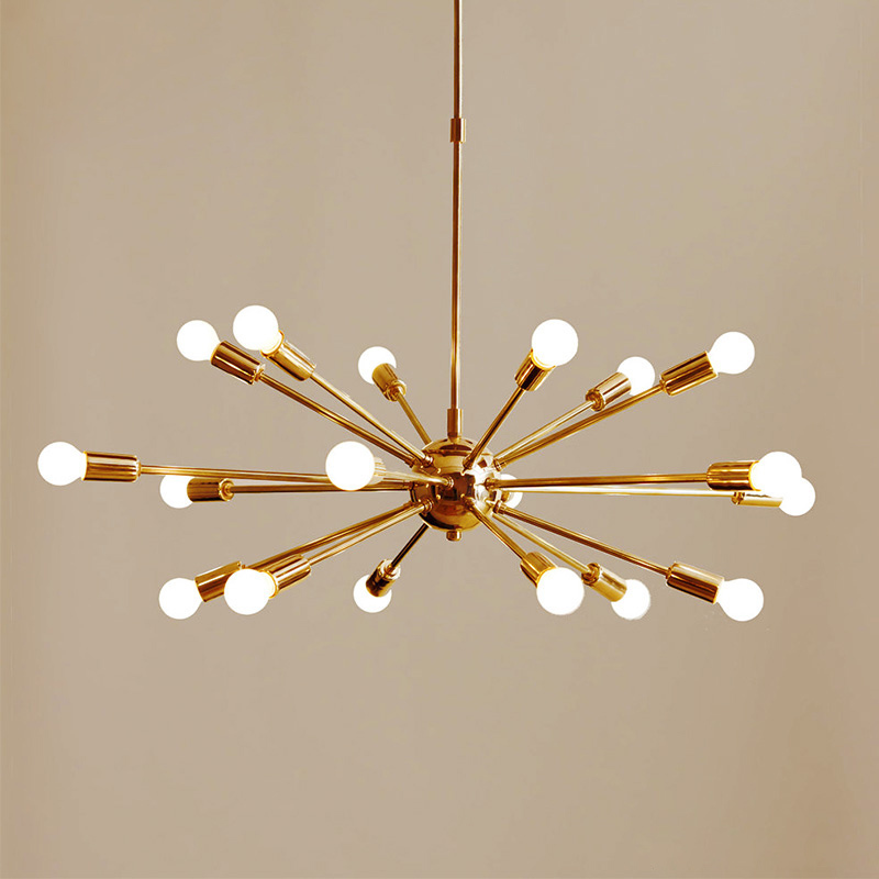 Mid Century Brass Sputnik Chandelier 18 Arms Modern Pendant Lamp Hanging Light For Living Room Home Decor Dining Room Free
