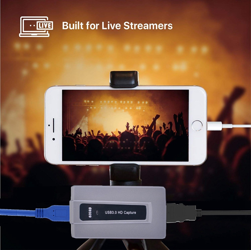 1080P 60fps Phone PC Game Video Recording USB 3.0 HDMI Capture Grabber For Windows Mac Live Stream Broadcast OBS VLC Webcasting