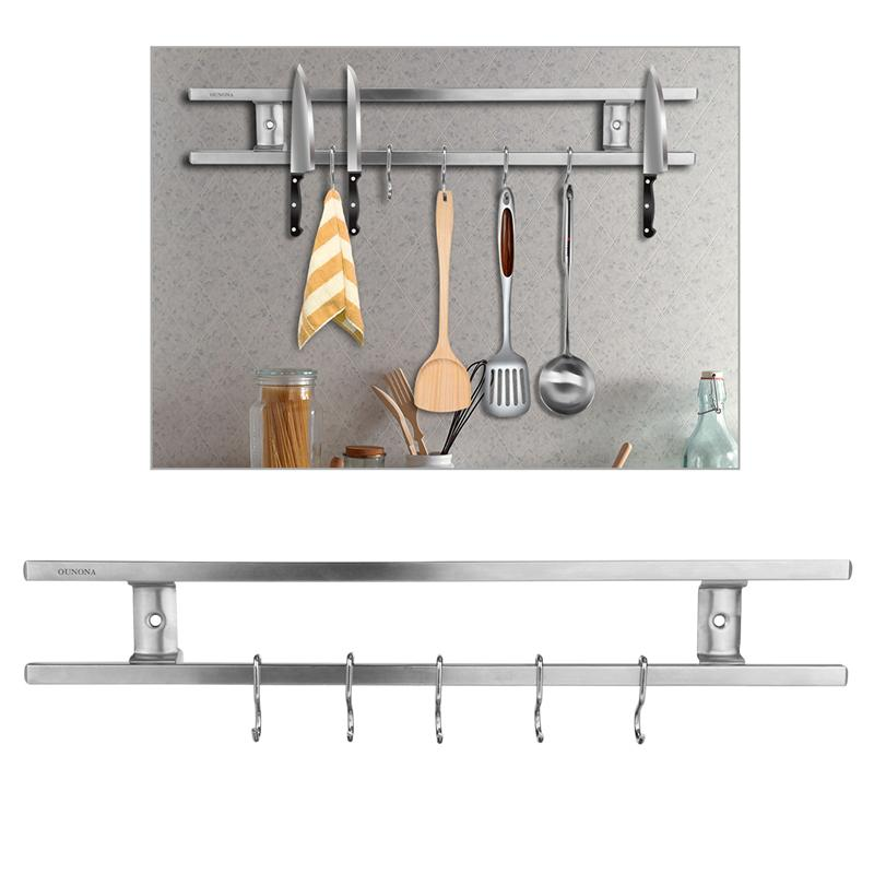 OUNONA Wall-mounted Magnetic Knife Holder Double Knife Storage Rack Sets Kitchen Accessories Kitchen Oganizer Rack