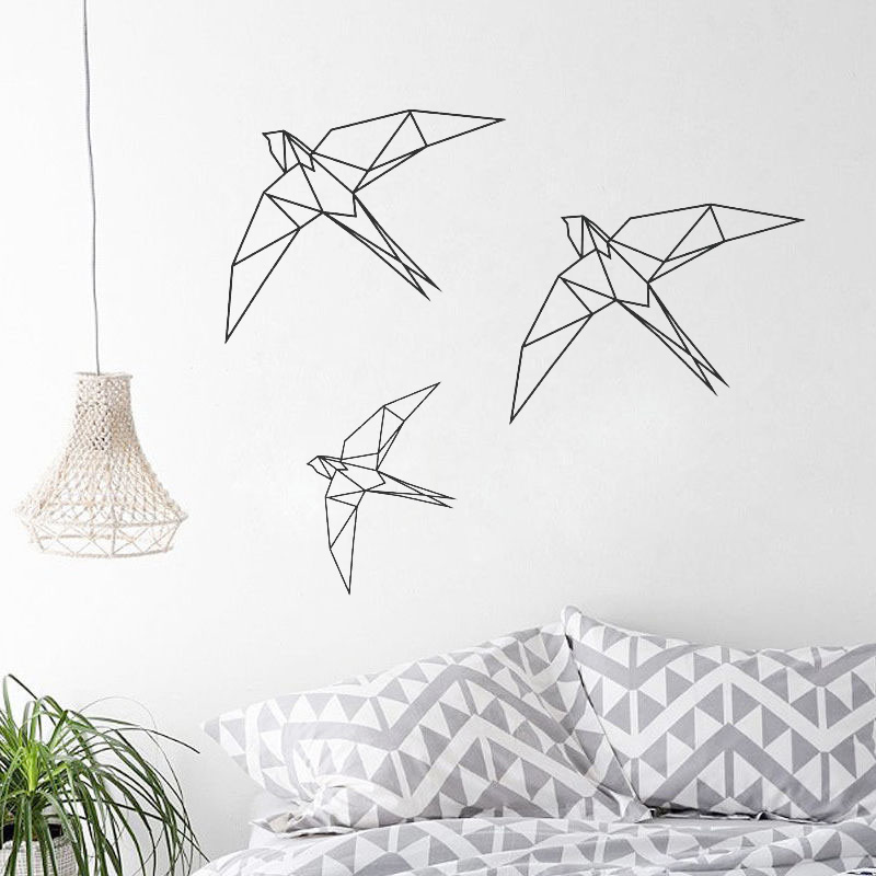 Geometric Origami Birds wall quote sticker vinyl decals art room decoration
