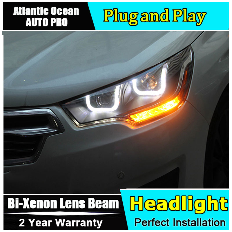 Car Styling for Citroen C4 Headlights 2013-2016 FOR C4 LED Headlight DRL Lens Double Beam HID KIT Xenon bi xenon lens high quality car styling case for citroen quatre c4 2012 2017 headlights led headlight drl lens double beam hid xenon