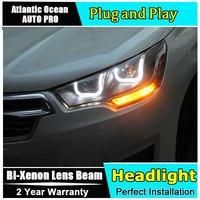 Car Styling for Citroen C4 Headlights 2013 2016 FOR C4 LED Headlight DRL Lens Double Beam HID KIT Xenon bi xenon lens
