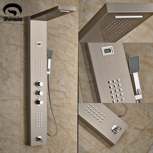 Nickel Brushed Thermostatic Shower Faucet Stainless Steel Waterfall Shower Head Shower Panel with Hand Shower Wall Mount