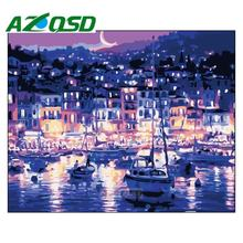 AZQSD 40*50cm Sea City Digital Acrylic Paint Kit Oil Painting by Number No Frame On Canvas Home Room Decor Wall Pictures szyh361(China)