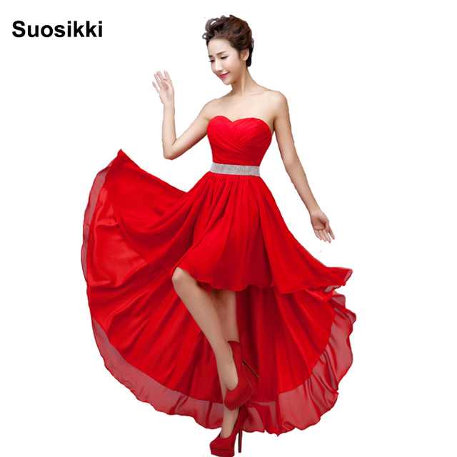 Suosikki Sleeveless Chiffon Short Front Long Back Bandage Prom Dress