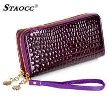 Wallet Women Double Zipper Stone Long Clutch Purse Patent Leather Coin Purse Card Holder Lady Purse Female Wallet Big Carteira wallet brand coin purse pu leather women wallet purse wallet female card holder long lady clutch purse carteira feminina