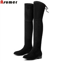 Asumer Plus Size 34 43 Autumn Winter Boots Fashion Elegant Low Heels Shoes Woman Over The