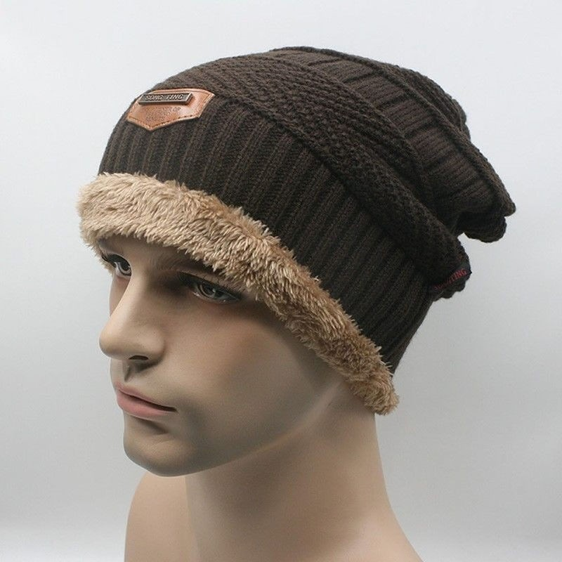 Hot Mannen Gebreide Wol Baggy Caps Winter Warm Hiphop Beanie Haak