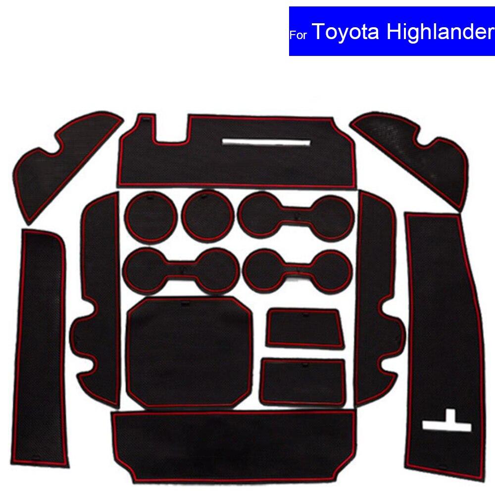 Non-slip Car Door Gate Slot Mats Carpets Position Cup Holder Pads For Toyota Highlander 2015 2016 Door Groove Mat Free Shipping